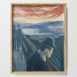 Edvard Munch - Sick Mood at Sunset. Despair Serving Tray
