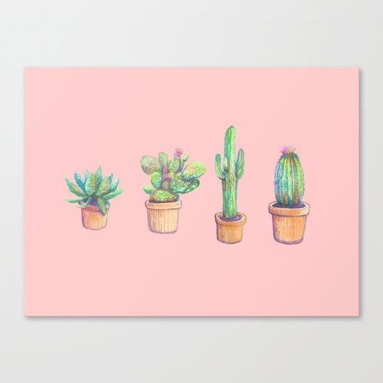 pink four cactus Canvas Print