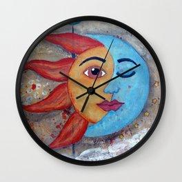 Soluna, Sun and Moon Mixed media Painting Wall Clock