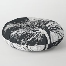 Natural Outlines - Oak Tree Black & Concrete #402 Floor Pillow