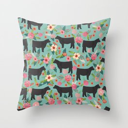 Show Steer cattle breed floral animal cow pattern cows florals farm gifts Throw Pillow