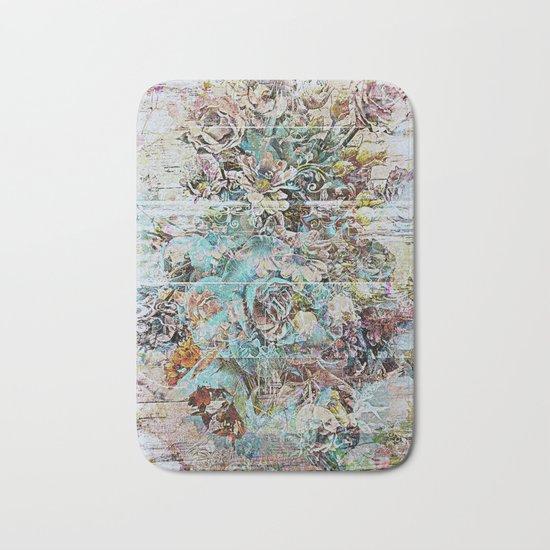 Grunge victorian floral Bath Mat
