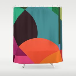 Pink Sunsets Geometric Abstract - Bybrije Shower Curtain