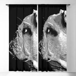 english bulldog dog vector art black white Blackout Curtain