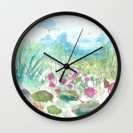 Florida Everglades landscape Watercolor Wall Clock