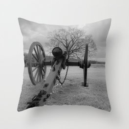 Chancellorsville Cannon Civil War Battlefield Virginia Black and White Photography  Throw Pillow