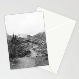 Northwest Mountain Hiking Trail Rocky Forest Black White Landscape Bellingham Washington Stationery Cards