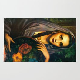 Jesus Helguera Painting of a Calendar Girl with Dark Shawl Rug