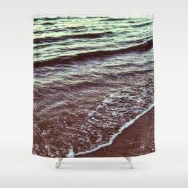 Green Ocean Waves Shower Curtain