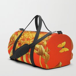 SURREAL YELLOW SPIDER MUM & BUTTERFLIES ORANGE ART Duffle Bag