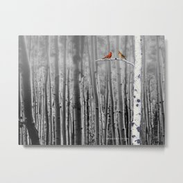 Red Cardinals in Birch Forest A128 Metal Print