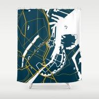 copenhagen Shower Curtains featuring Copenhagen Denmark Map by Studio Tesouro
