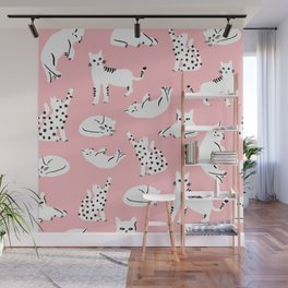 Cat Pattern - Pink Wall Mural