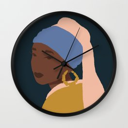 The Girl With A Bamboo Earring Wall Clock