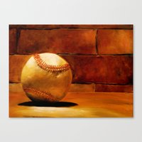 baseball Canvas Prints featuring Baseball by Michelle Sauer