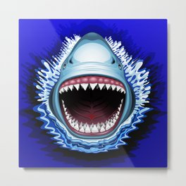 Shark Jaws Attack Metal Print