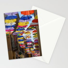 Colorful umbrella street in Italy Stationery Cards