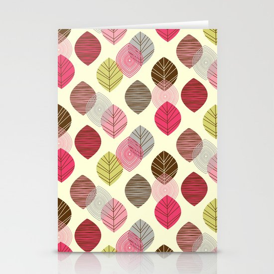 Linear leaves Stationery Cards