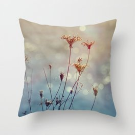 Soft Queen Anne's Lace and Bokeh Throw Pillow
