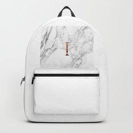 Monogram rose gold marble I Backpack