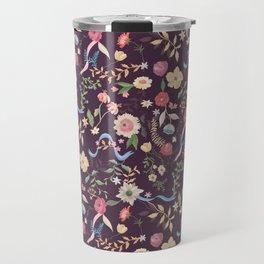 Purple Chintz Floral Travel Mug