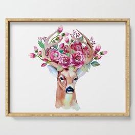 Shy watercolor floral deer Serving Tray