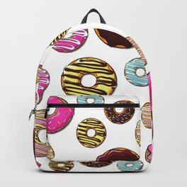Donut Pattern, Colorful Donuts - Pink Blue Yellow Backpack
