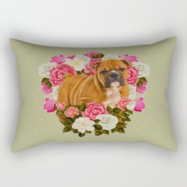 English Bulldog Puppy with flowers Rectangular Pillow