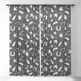 A Little Luck - on Black Sheer Curtain