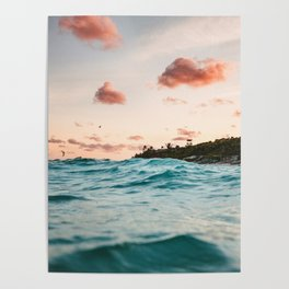 Waves at the sunset Poster