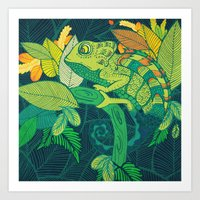 chameleon Art Prints featuring Chameleon by Arcturus