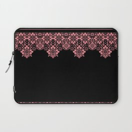 Retro .Vintage . Pink lace on a black background . Laptop Sleeve