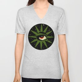 Red and Green All Seeing Cosmic Eye Unisex V-Neck