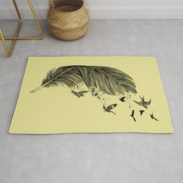 Feather Birds BW Rug