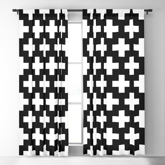 Swiss Cross W&B Blackout Curtain