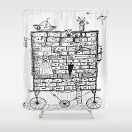 chest of drawers transport Shower Curtain