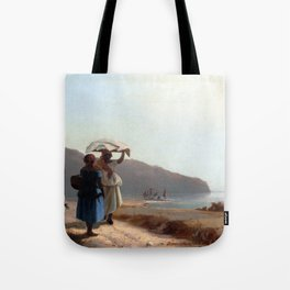 Camille Pissarro Two Women Chatting by the Sea, St. Thomas Tote Bag