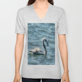 Fledgling Flamingo At Sea Watercolor Unisex V-Neck