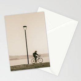 Cycling along the shore of lake Trasimeno Stationery Cards