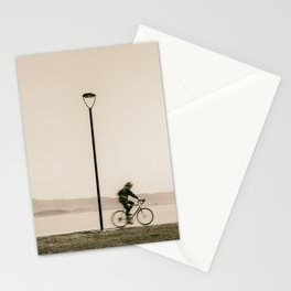 Cycling along the shore of lake Trasimeno Stationery Cards