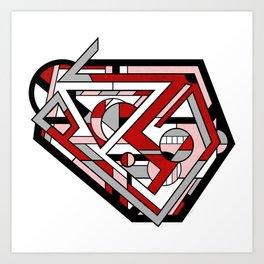 Corcillum - Heart Shaped Geometric Abstract Art Print