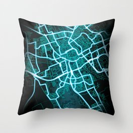 Groningen, Netherlands, Blue, White, Neon, Glow, City, Map Throw Pillow