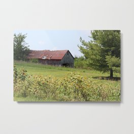 Barn and the sunflowers Metal Print