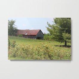Barn and the sunflowers Metal Print