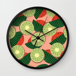 Watermelons and kiwis Wall Clock