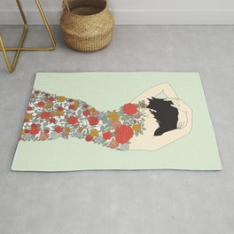 Woman in Floral Dress Rug
