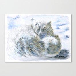 Snowy Slumber - Arctic Fox by Teresa Thompson Canvas Print