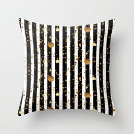 Stripes & Gold Splatter Throw Pillow