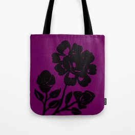Royal Purple Rose Silhouette Original Design Done with Acrylics Tote Bag