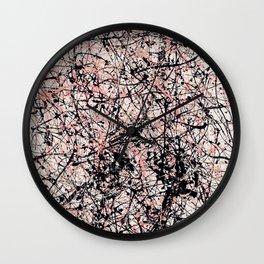 THREE BLUE ROSES - Jackson Pollock style art Wall Clock